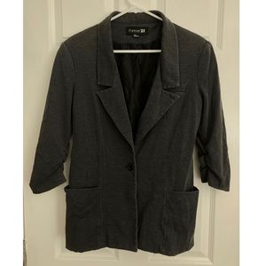 Forever 21 Gray Ruched 3/4 Sleeve Blazer size M